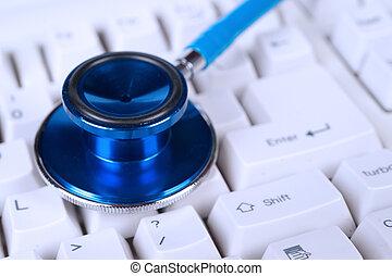 blå, stetoskop