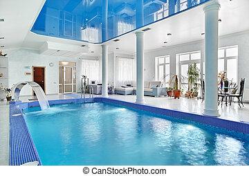 blå, stil, inomhus, stor, nymodig, inre, minimalism, slå samman, simning