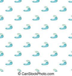 blå, stil, mönster, våg, vatten, tecknad film