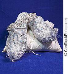Blå, stil, sammet, skor, brud, bröllop, öster.