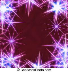 blå, stjärnor, över, violett, bakgrund