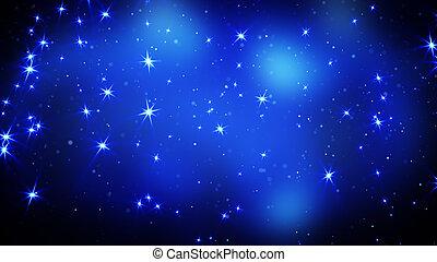 blå, stjärnor, bakgrund, lysande