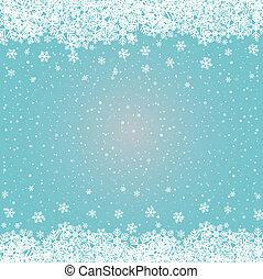 blå, stjärnor, snö, bakgrund, vit snöflinga