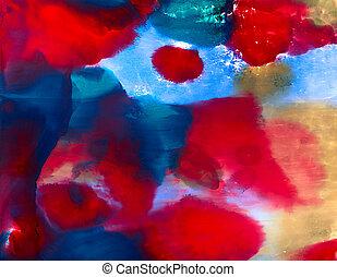 blå, stor, abstrakt, röd får syn på