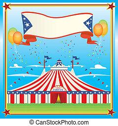 blå, stor topp, cirkus, röd