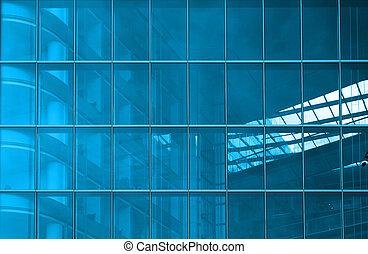 blå, strukturelle, glazing