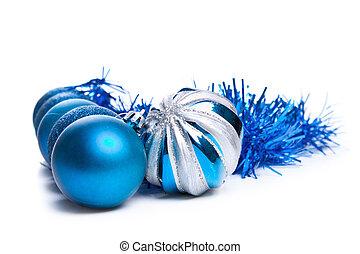 blå, struntsak, färgrik, utrymme, text, dekoration, vit jul
