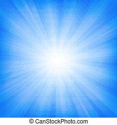 blå, sunburst, bakgrund