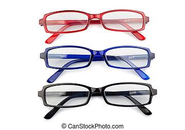 blå, svart röd, glasögon