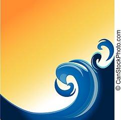 blå, swirly, vågor