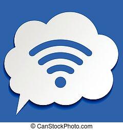 blå, symbol, papper, bakgrund, wi-fi, bubbla