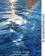 blå tåra, solnedgång, hav, vågor, vakna, skepp