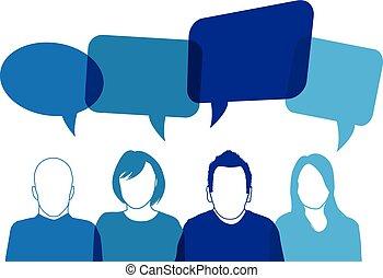 blå, talande, folk