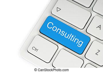 blå, tangentbord, konsultera, knapp