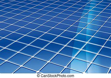 blå, tegelpanna, golv