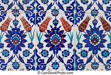 blå, tegelpanna, turkisk