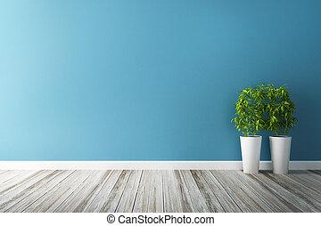 blå, tegen, blomma, vägg, inre, vit