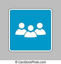 blå, tegn., arbejde, tegn, baggrund., hold, hvid, ikon