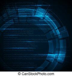blå, teknisk, text, abstrakt, mörk, plats, bakgrund, din