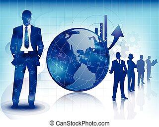 blå, teknologi, affär, bakgrund