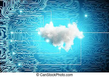 blå, teknologisk., bagtæppe, sky