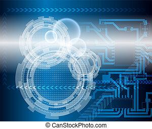 blå, teknologiske, baggrund