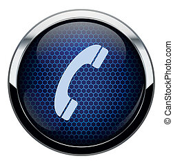 blå, telefon, honeycomb, ikon