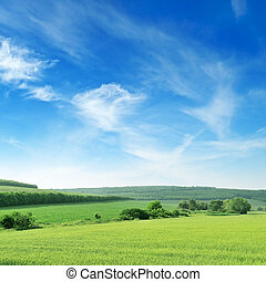 blå, terræn, bjergrige, himmel