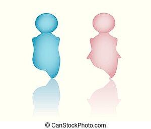 blå, toalett, badrum, wc, isolated., skylt., gentleman, symbol., icons., toalett, rosa, illustration, kvinnlig, dörr, manlig, dam, symbol, 3