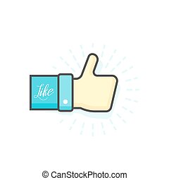 blå, tommelfinger oppe, illustration, vektor, ikon