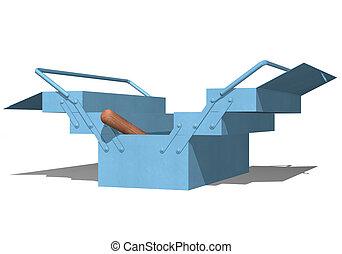 blå, toolbox, öppna, metallisk
