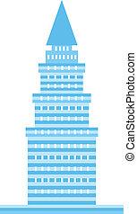 blå, torn, avbild, logo