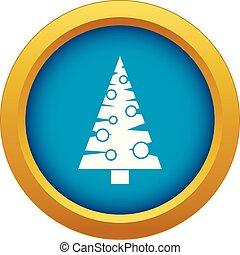 blå, träd, isolerat, vektor, jul, ikon