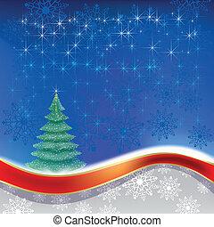 blå, träd, jul, bakgrund