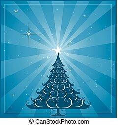 blå, træ, jul, baggrund