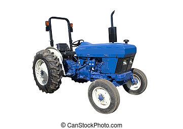 blå, traktor