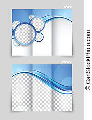 blå, tri-fold, broschyr