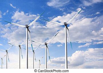 blå, turbin, sky