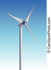 blå, turbiner, himmel, vind, baggrund