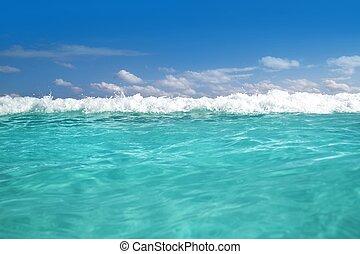 blå, turkos, våg, karibisk hav, vatten, skum
