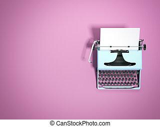 blå, typewriter., 3, framförande