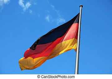 blå, tysk, national flagg, bakgrund.