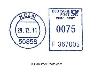 blå, tysk, poststempel