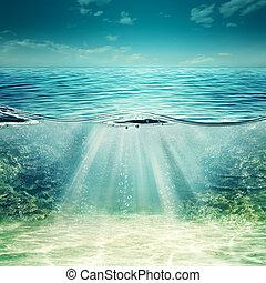blå, undervattens, abstrakt, bakgrunder, djup, design, ocean., din