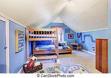 blå, ungar rum, tvåvåningssäng, lysande