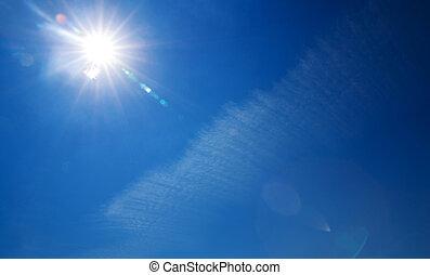 blå, utrymme, sol, klar sky, avskrift, lysande