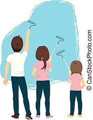 blå vägg, målning, familj