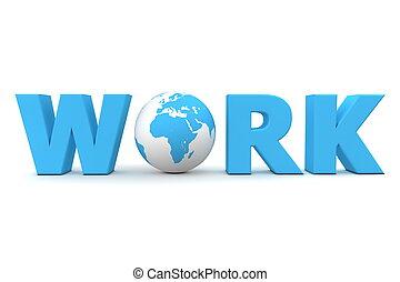 blå, värld, arbete