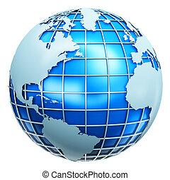 blå, värld glob, metallisk
