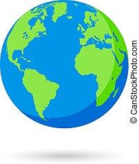 blå, värld glob, vektor, grön